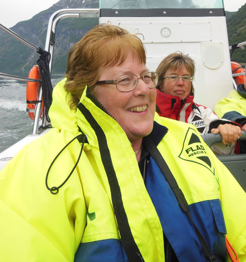 2014 Here we are Suited up for a Rib Boat Ride in the Norwegian Fjords