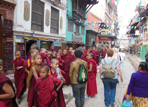 2013 A group of monks heading from the Golden Temple toward Durbar Square Patan