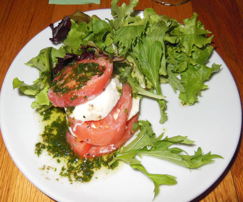 Our Starter at New England House was a Delicious Caprese Salad