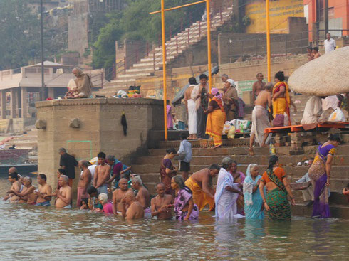 2013 Ritual Bathers on the steps to the Ganges River in Varanasi at Dawn