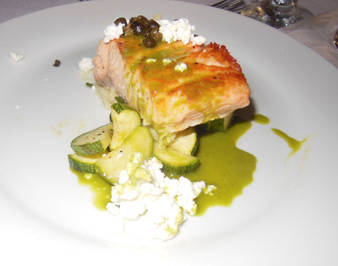 Grilled Orange-Glazed Salmon with Seasonal Vegetables and Chive Puree was Refreshing