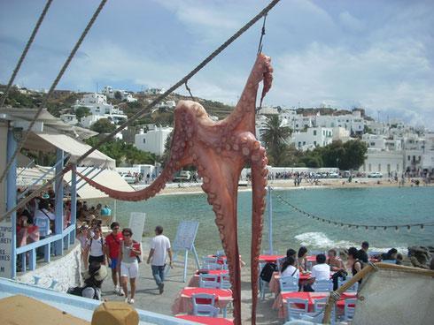 2011 Mykonos - Part of the Octopus Tenderizing Process at Babulas Taverna