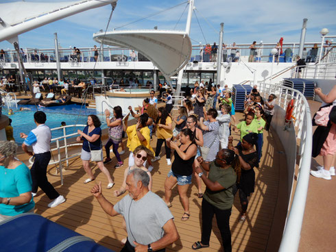 2019 Line Dancing at the Sail Away Party aboard Norwegian Dawn