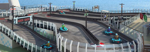 The go-carts on the top deck speed between two deck levels