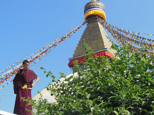 2013 A Monk Visiting the Boudhanath Stupa in Kathmandu, one of the largest in the world