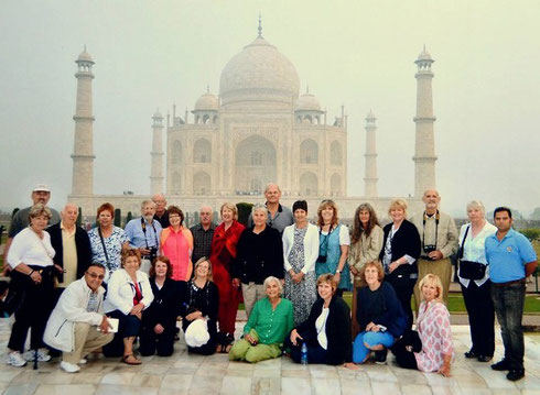 2013 Our group poses before the Taj Mahal in Agra built by the Mughal Emperor Shah Jahan
