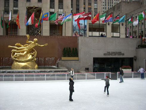 Thrill to Skating at the Rockefeller Center Ice Rink in mid-town Manhattan