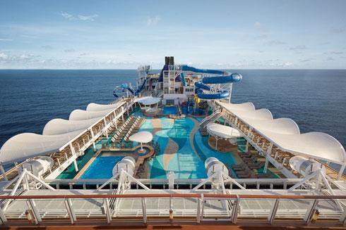 Norwegian Bliss' Pool Complex awaits you!