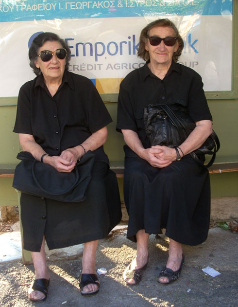 2011 Arachova - We met these two Sisters at a Bus Stop in the Village