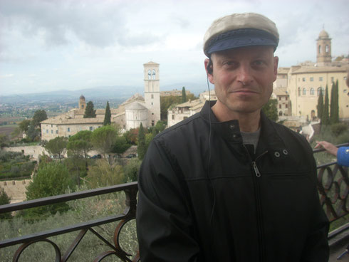2012 A Nice Shot of Steve with a Vista of Assisi from the Basilia of  Santa Clara