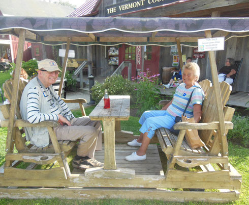 Gene and Mary enjoy an old-fashioned soda on the swing at Vermont Country Store