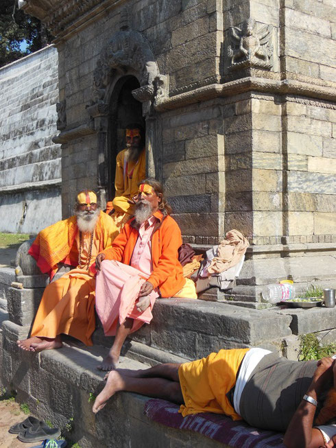 2013 Hindu Holy Men reclining within the Pashupatinath Temple Complex in Bhaktapur