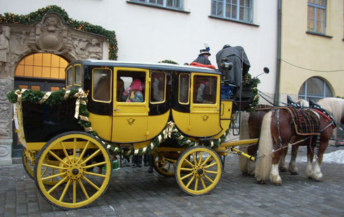A Decorated Carriage Awaits Passengers at the Nuremberg Christmas Market