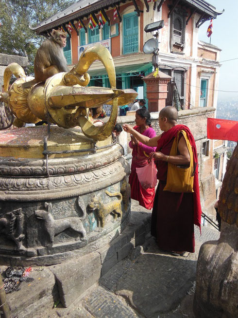 2013 Pilgrims at the famous Monkey Temple in Kathmandu, Nepal