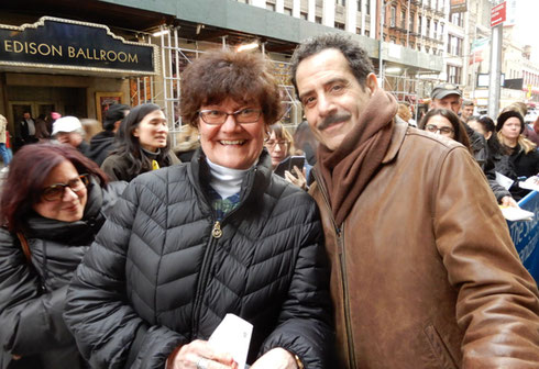 2018 One of our Passengers Poses with Tony Shaloub after a performance of Band's Visit