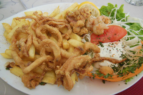 2016 Makarska, Croatia - Fried Calamari & Shrimp at the Cafe Berlin - Yum