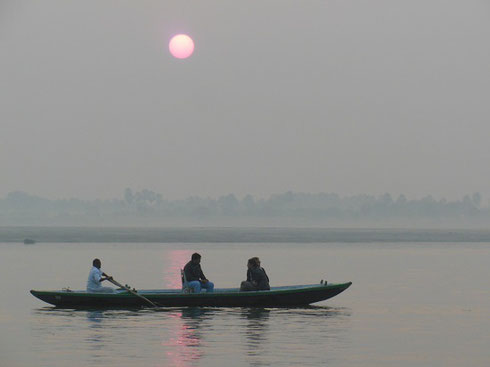 2013 A Boat Carrying Pilgrims on the Ganges in Varanasi at Sunrise