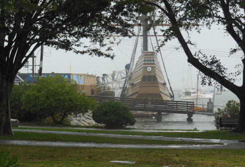 The Mayflower II at Anchor in Plymouth Harbor wasn't  too Far to Walk in the Rain
