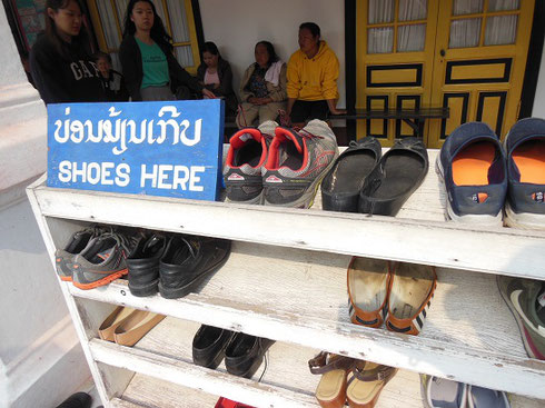 2015 Removal of visitors' shoes is required for a visit  to the Laos National Museum