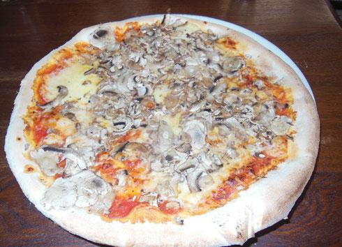 2016 Zagreb, Croatia - The Mushroom Pizza at Nokturno Restuarant is a Classic