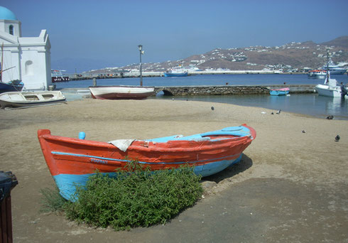 The Harbor on the Island of Mykonos is alive with Shopping, Restaurants, Lots to See