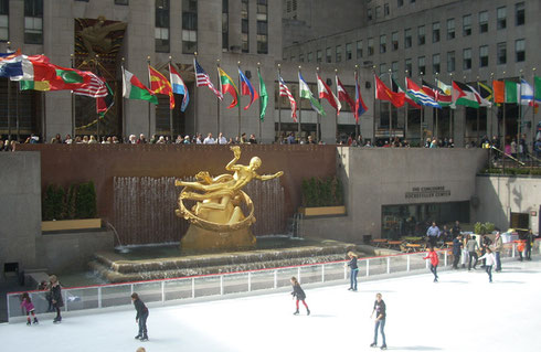 Rockefeller Center Ice Skating Rink at Holiday Time