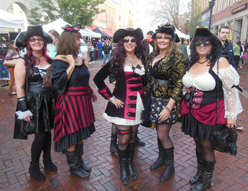 Visitors come to Salem in Costume - These Pirates were Fierce!