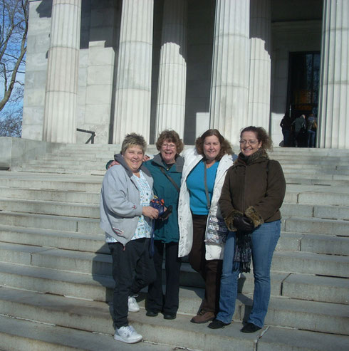 2007 A Great Shot of Four of our New York Travelers at Grant's Tomb in Upper Manhattan