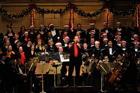 Singing Christmas Carols with the Boston Pops orchestra