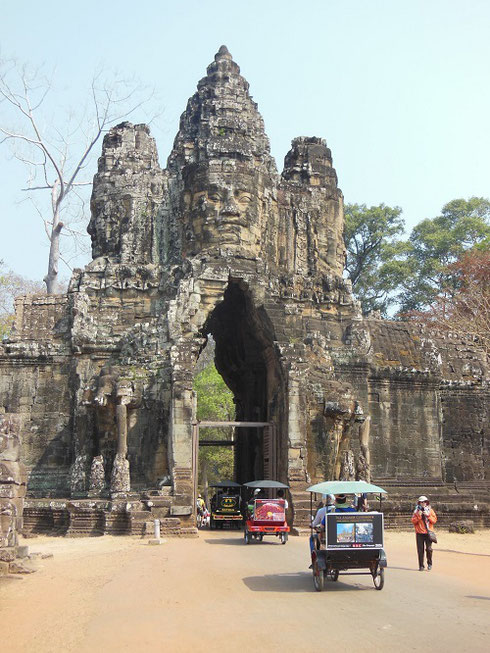 2015 The South Gate entrance to the ancient city of Angkor Thom is too narrow for a coach