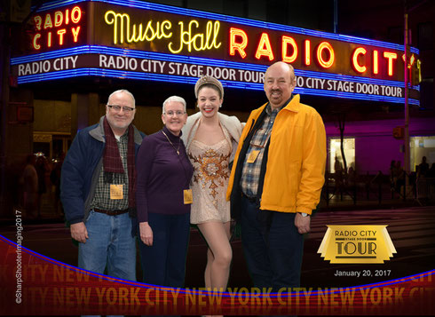 Here we are with Rockette Brittany on our 2017 Back Stage Tour of Radio City Music Hall