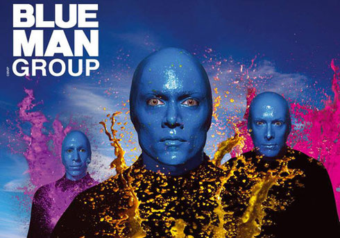 2015 Blue Man Group logo with three blue men