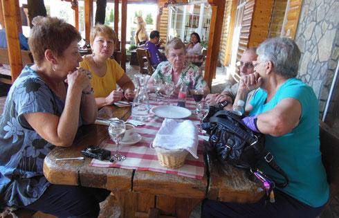 Here we are Waiting for Lunch at the Mirjana & Rastoke Restaurant in Slunj