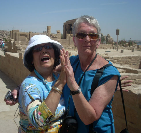 Carmen and Joyce Share a Moment of Fun While on a Walking Tour of Philae Island, Egypt