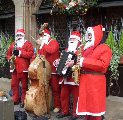 2008 This Santa Band was doing Quite Well Entertaining the People in Strasbourg, France