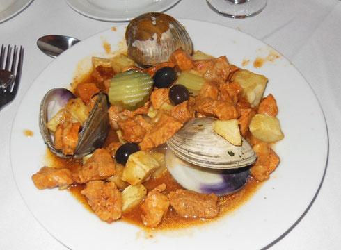 The Pork Alentejana at Cotali Mar is a National Portuguese Dish