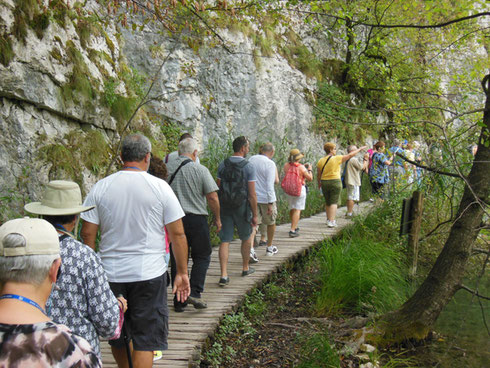 Here is a Nice Shot of Us Hiking to the Largest of the Falls at Plitvice Lakes National Park