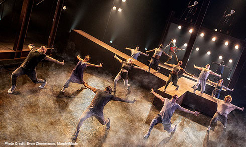 The cast of Jesus Christ Superstar runs and dances with joy and rejoicing
