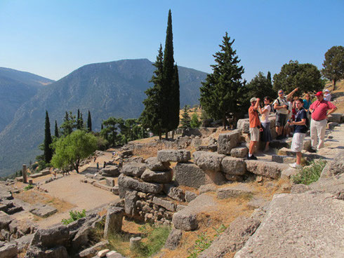 A Group from Adventure Tours of Warren Nearing the Summit at Delphi Greece