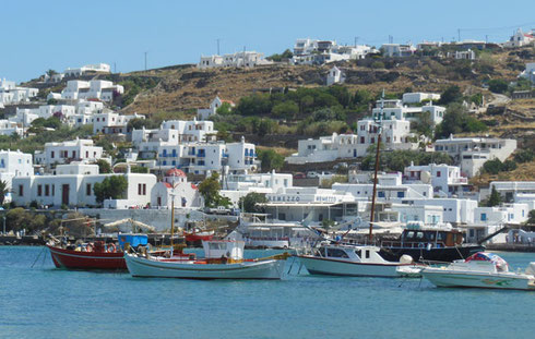 Photo of Fishing Boats at Anchor in the Storybook Island of Mykonos, Greece