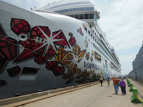 2015 The Hull of Norwegian Gem Looms Large During a Visit to the Port of  St. Maarten