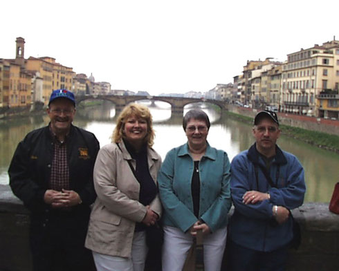 2005 A Group Taking a Moment to Pose on Florence's Legendary Ponte Vecchio