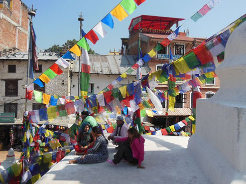 2013 Each of the Prayer Flags at Boudhanath Stupa in Kathmandu is inscribed with a Prayer