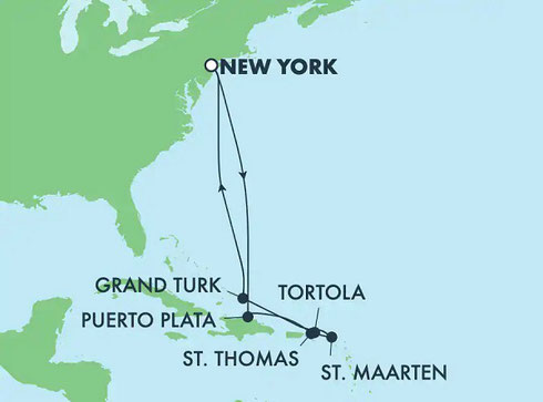 Map showing ports visited during this cruise