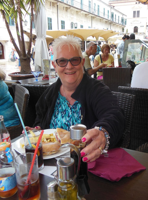 Here She is at Lunch in the Walled City of Kotor in Montenegro, a Great Place to Visit