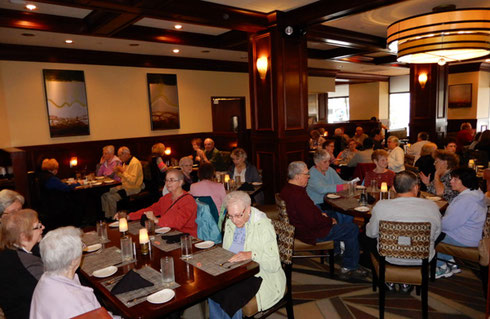 The stylish dining room at McCormick & Schmick's easily accommodated all of our group