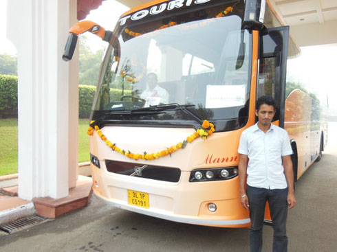 2013 Our Motor Coach steward Manpreet decorated our bus inside and out with Marigolds