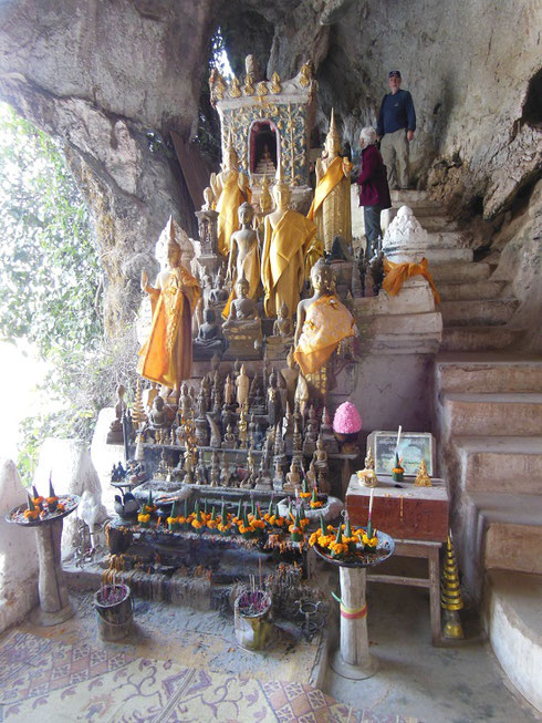 2015 One of the Altars at the Pak Ou Caves with offerings for the Lord Buddha