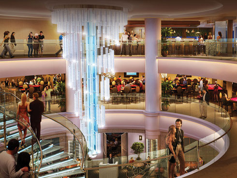 Oceanplace Atrium aboard Norwegian Cruise Lines' Breakaway is the Hub of Activity