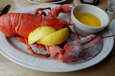 Steamed Lobster with lemon wedges and melted butter at DiMillo's in Portland, Maine